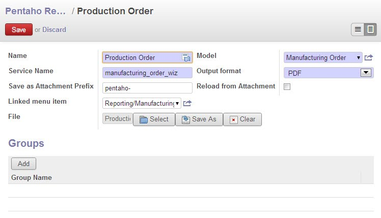 pentaho reports configuration form