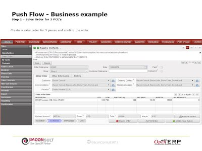 Step 2 – Sales Order for 3 PCE's