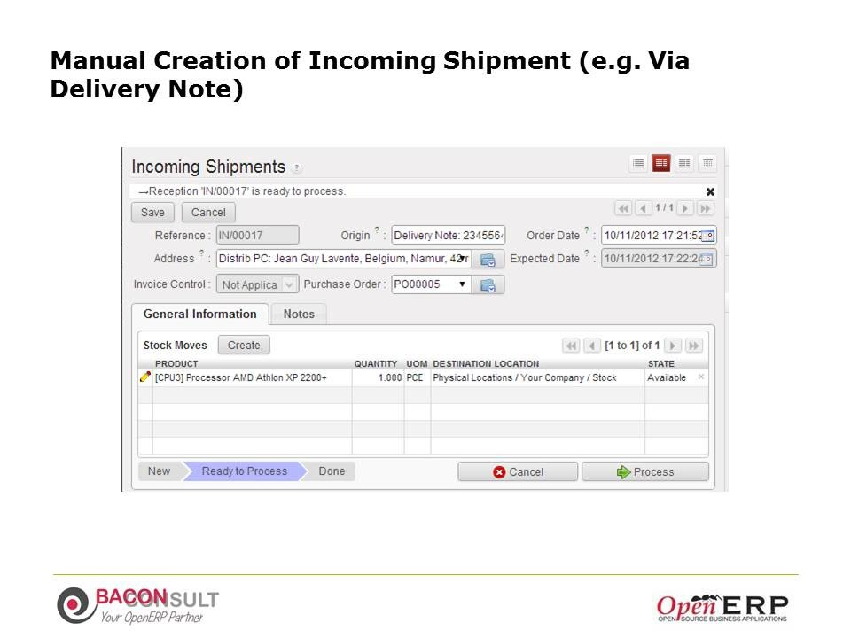Manual Creation of Incoming Shipment (e.g. Via Delivery Note)