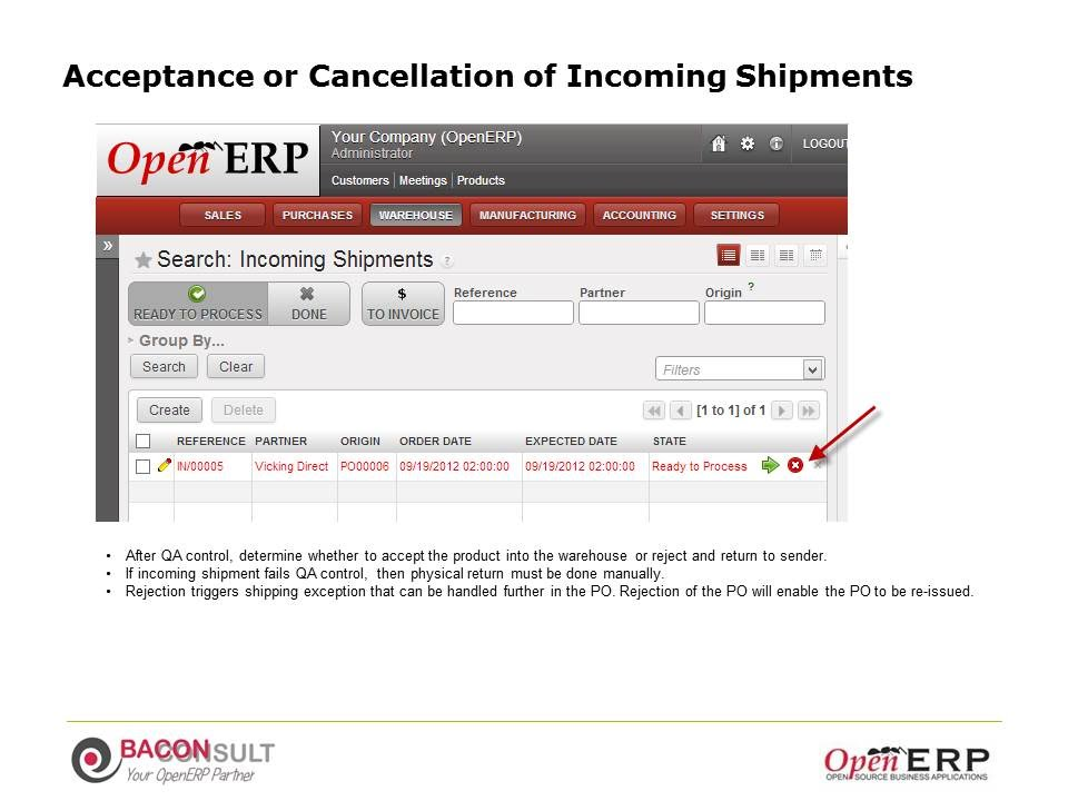 Acceptance or Cancellation of Incoming Shipments